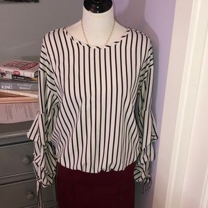 Striped Shirt with ruffled sleeves